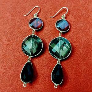 Triple Drop Red & Black Crystal Pierced Earrings